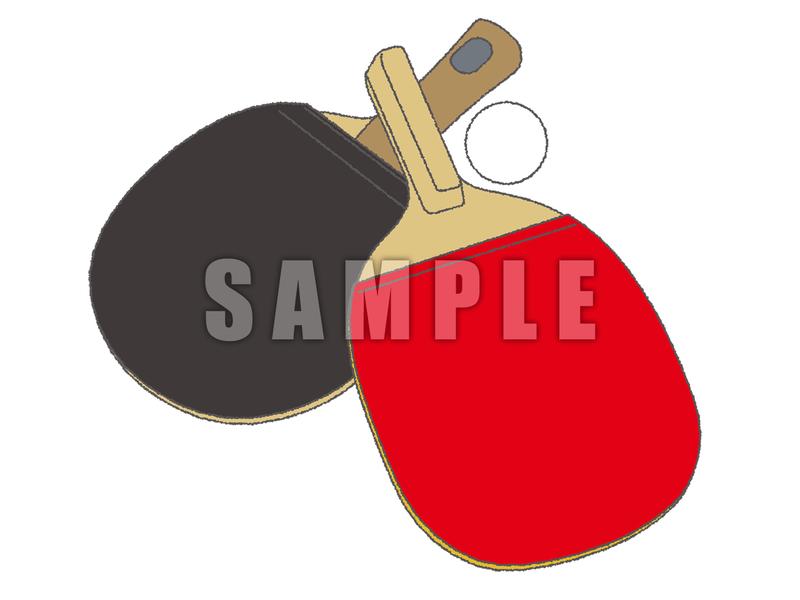 無料素材 卓球のラケット2タイプ ペン シェイク もちもちもちきんちゃく