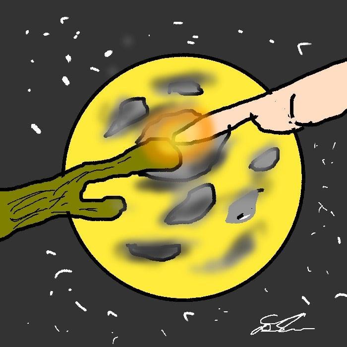 満月をバックに指と指でコミュニケーション。E.T.の世界ですね。(^^) | 尾久由のブログ