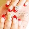 赤フレンチでクリスマスネイル☆の画像