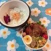 あきちゃんちのラララ♪お弁当♪カフェ丼ランチで大きな鶏の唐揚げ弁当編