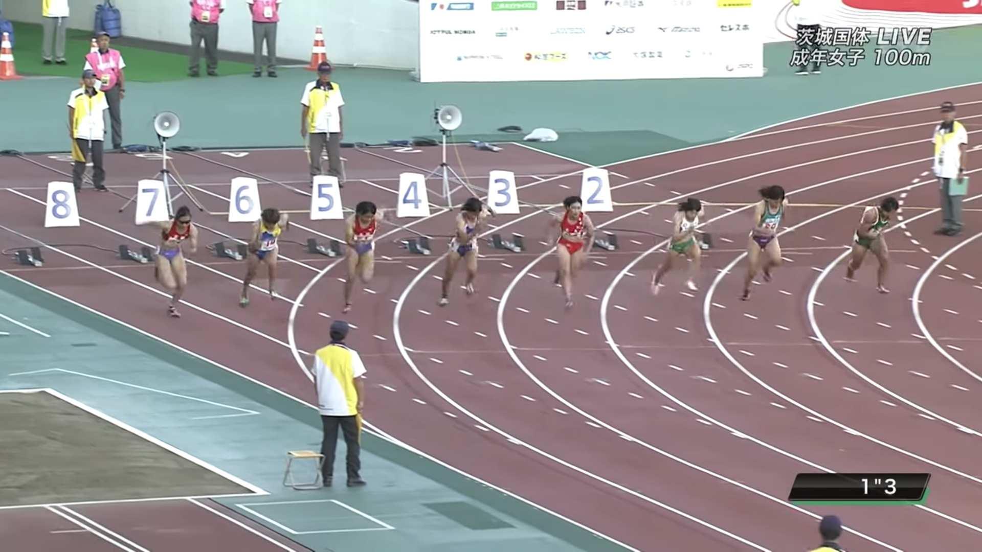 女子100m 11.62 湯浅佳那子優勝 茨木ゆめ国体2019-12-05