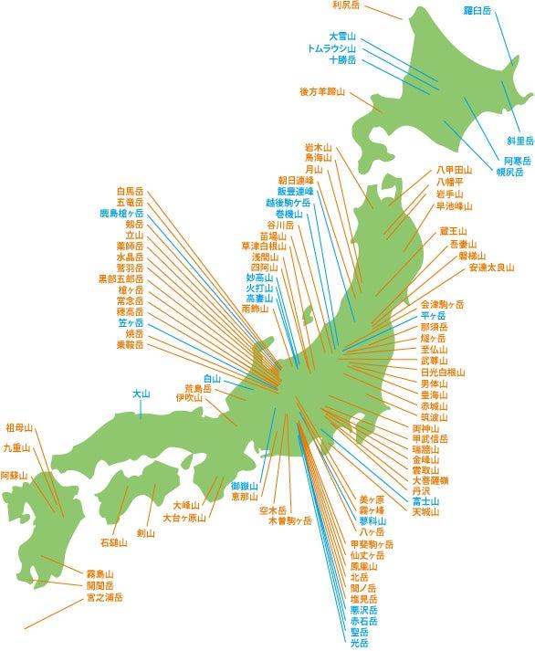 日本100名山 登山記録一覧 | ヘロヘロ登山隊の山歩記