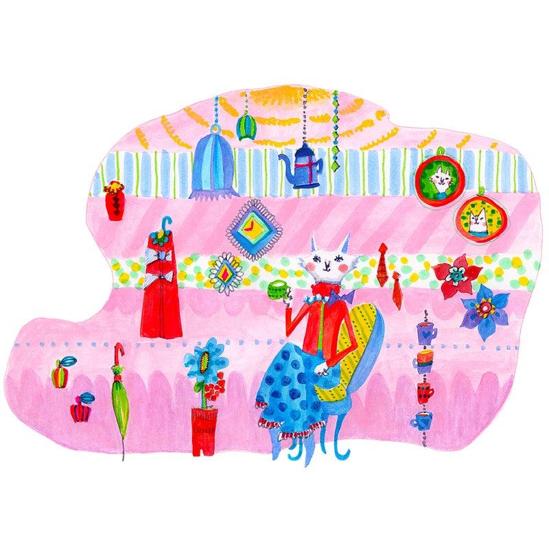 イラスト「マダム猫の休日」