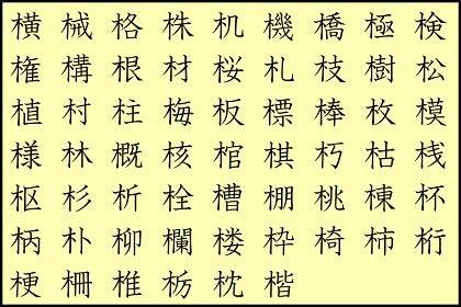 きへんの漢字