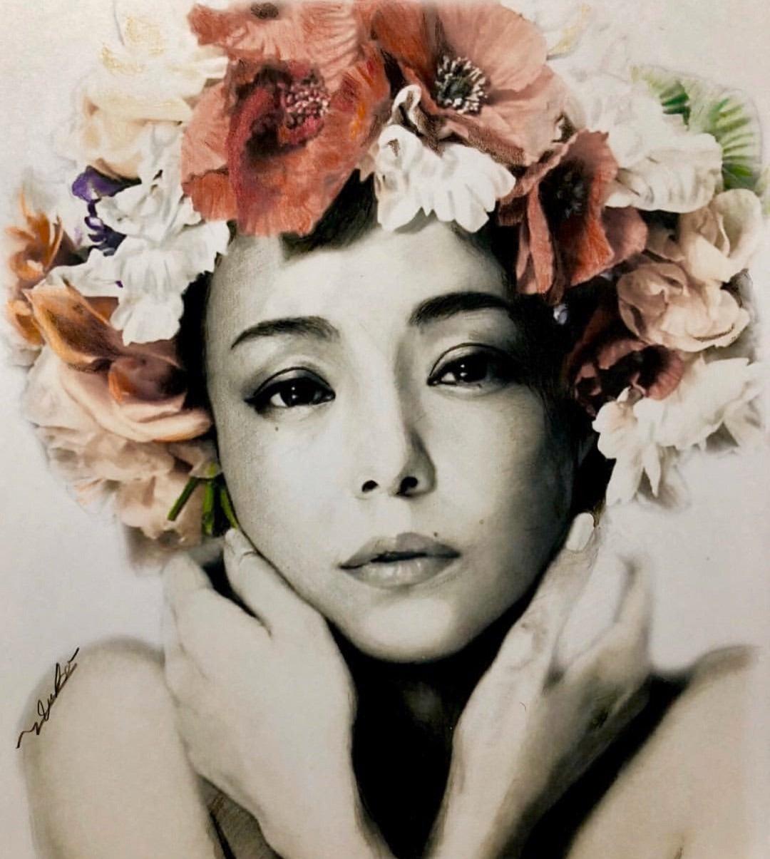 ゆうこりんの秘密の小部屋 (yukomakimura)色鉛筆画、鉛筆画、色鉛筆画リアル、水彩画、ペット似顔絵、似顔絵安室奈美恵ちゃんを色鉛筆で描く