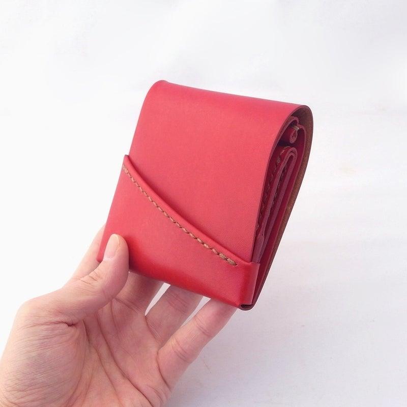 最後の1色!草木染め革の赤くて小さなミニ財布。(右利き用)
