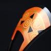 べっ甲幾何学模様朱地金蒔絵かんざし2020|銅鐸文様、渦巻き文、鋸歯文、ユニークな意匠の簪。の画像