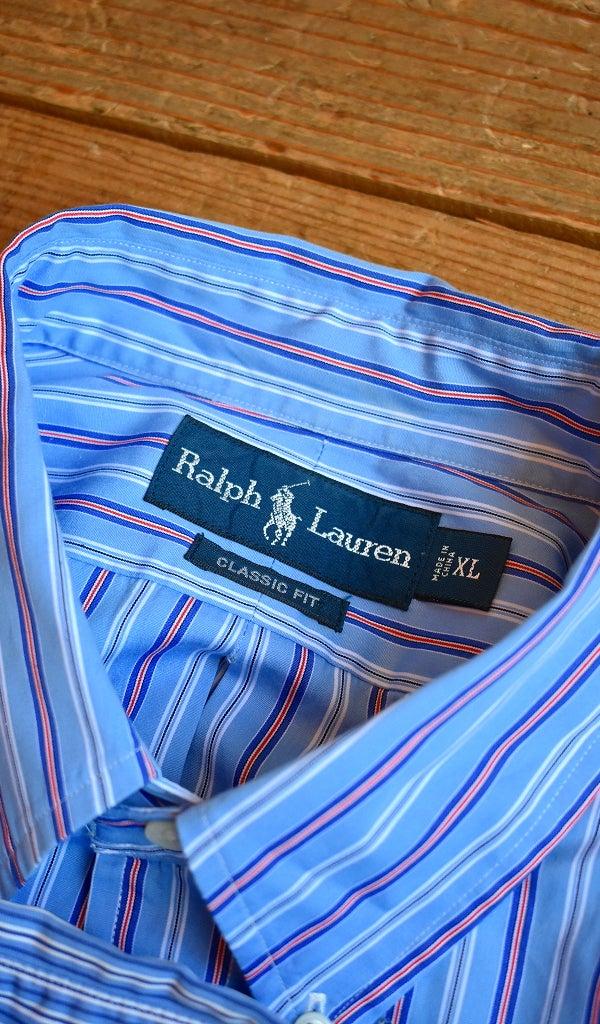 ラルフローレン長袖ストライプシャツ古着屋カチカチ