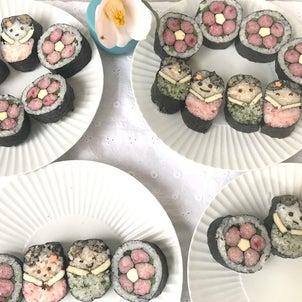 ひなまつりの飾り巻き寿司の画像