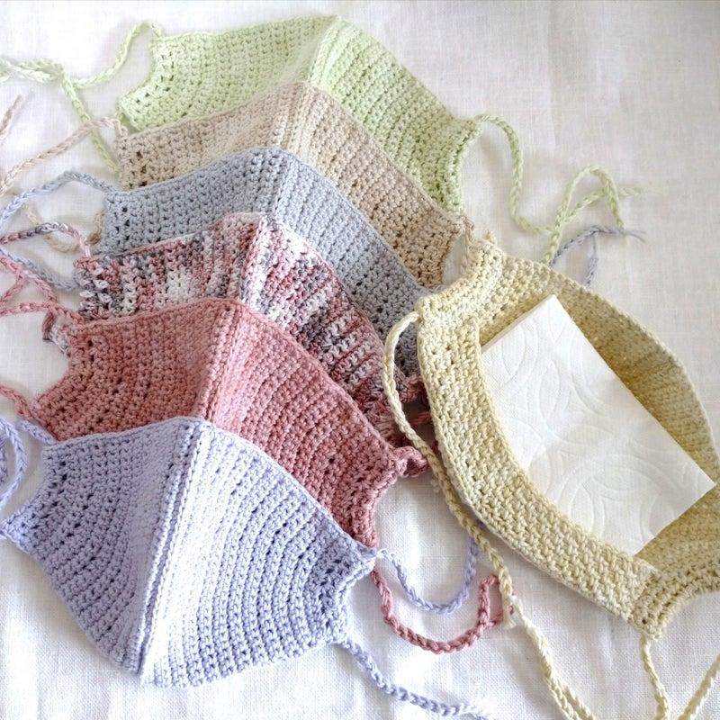 図 手編み マスク 編み