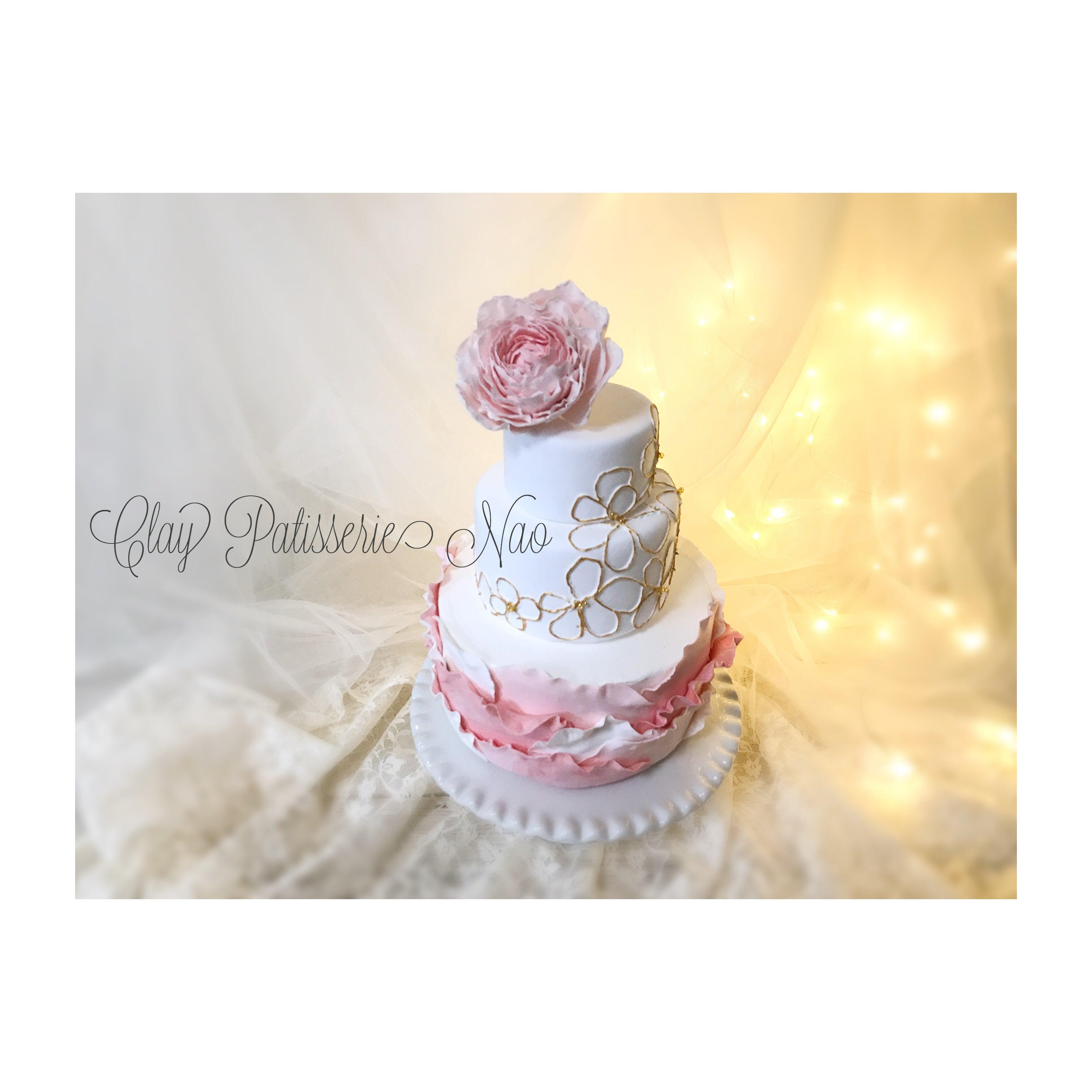 春らしいクレイケーキ で一生に一度の結婚式に彩りを♡