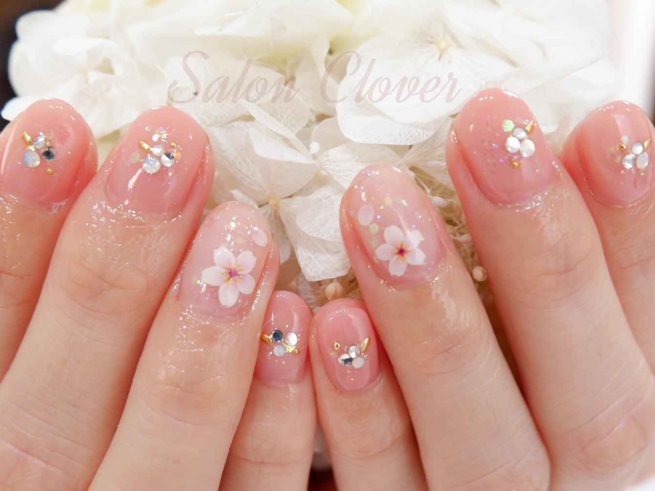 桜×ストーンのピンク、春ネイル☆自爪に優しいカルジェルの新色