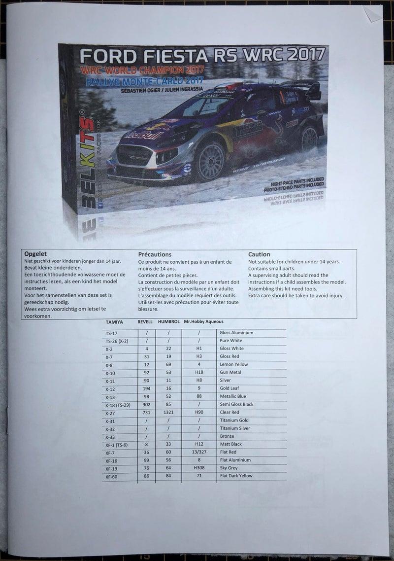 ベルキット フィエスタRS WRC2017の説明書(インスト)の表紙と塗料一覧