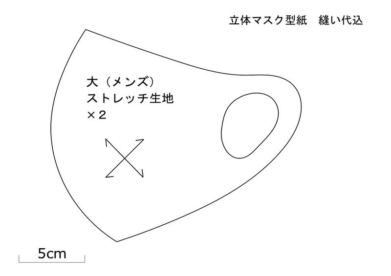 マスク 男性 型紙 立体