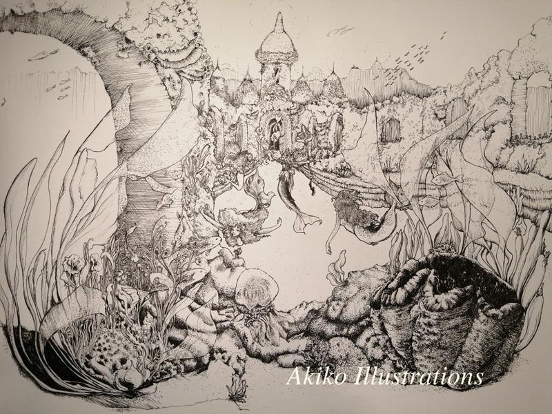 ニースでアート生活 ペン画イラスト 人魚姫ページ2 明子イラストレーション