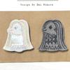 刺繍図案無料プレゼント:妖怪アマビエのマスクとブローチを作りました♪の画像