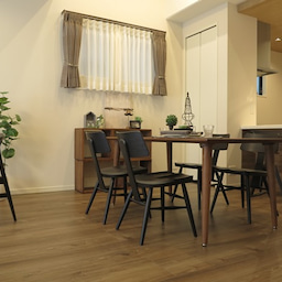画像 床の色と少し違う色の家具がいい?!グレーがかったブラウン色の床にウォールナット材の家具を合わせる の記事より 4つ目