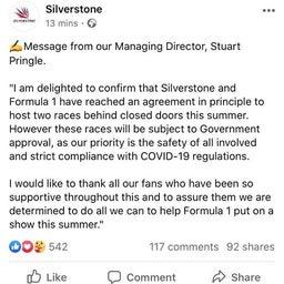 画像 2020 F1 イギリスGP 無観客開催で基本合意 の記事より