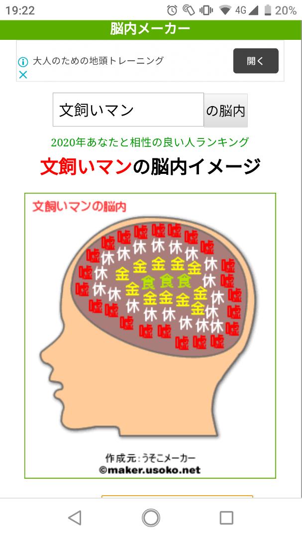 内 2020 脳 相性 メーカー