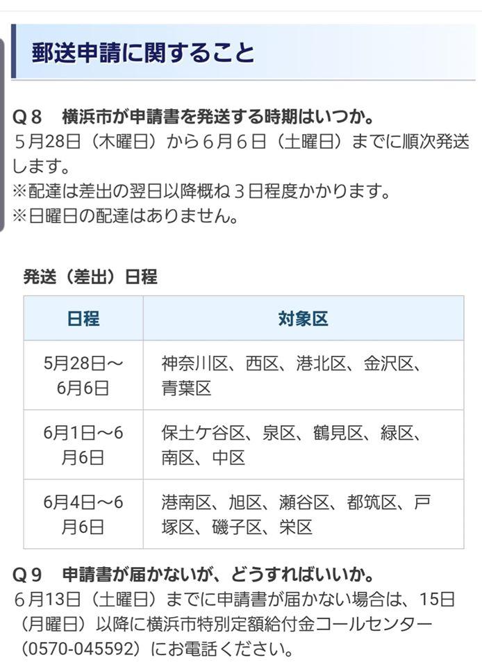横浜 市 給付 金 申請 書類 届か ない