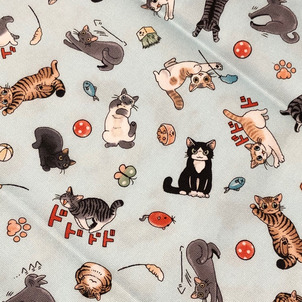 コミックライクな猫ちゃん総柄の画像