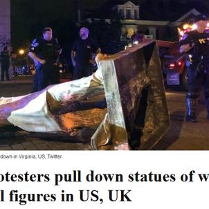 「チャーチル像の戦い」イギリスの極右とBLMの争いの現実は・・・(笑)ただの宴会?!の画像