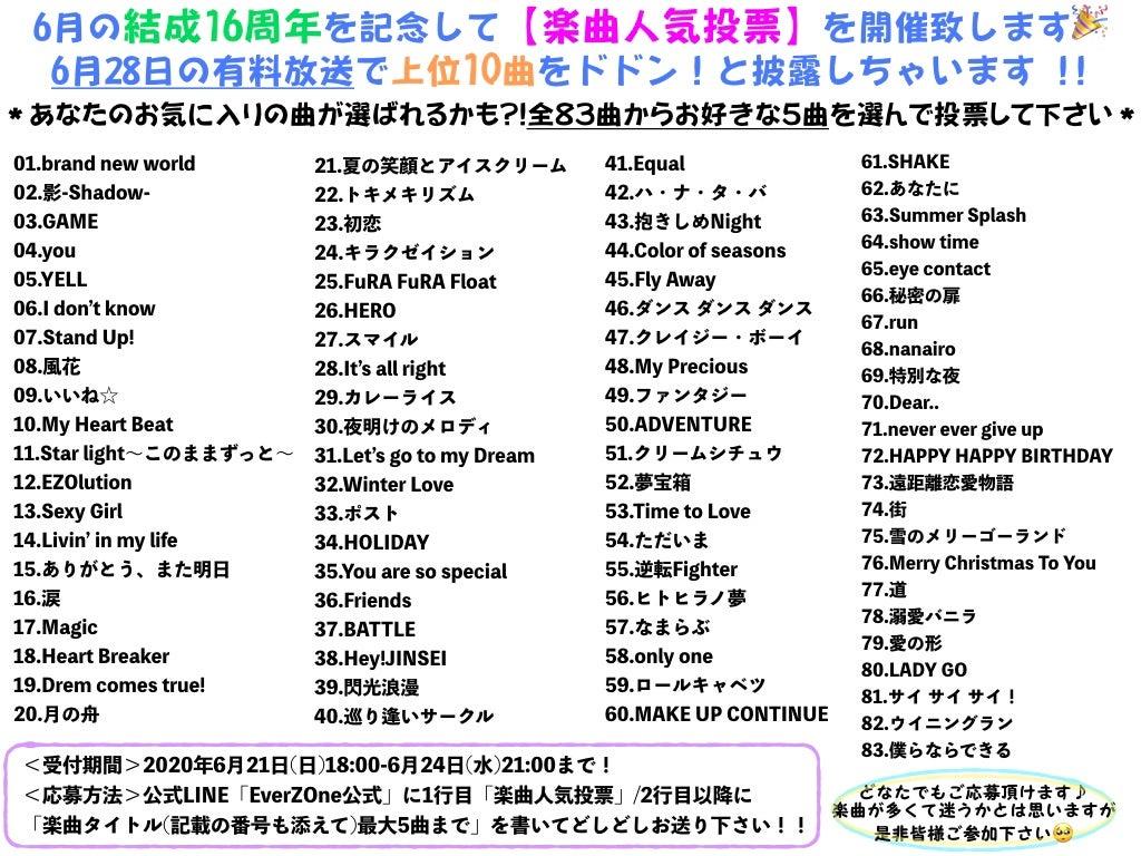 EverZOne16周年記念【楽曲人気投票】開催のお知らせです!の記事より