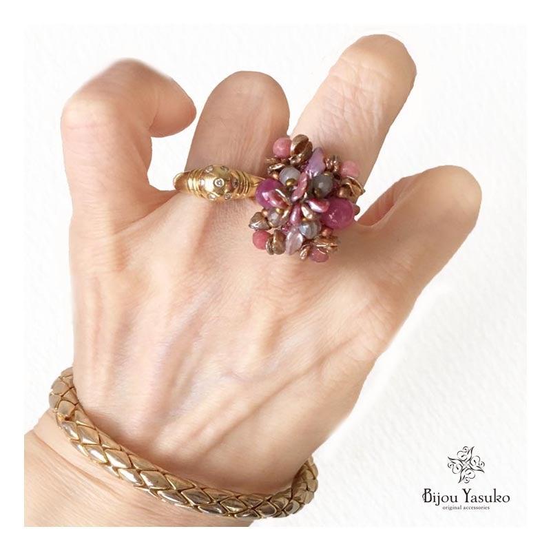 天然石ビーズリング(指輪) ピンクサファイア 芥子パール 編み込み リング 大ぶり サイズ コンバートリング