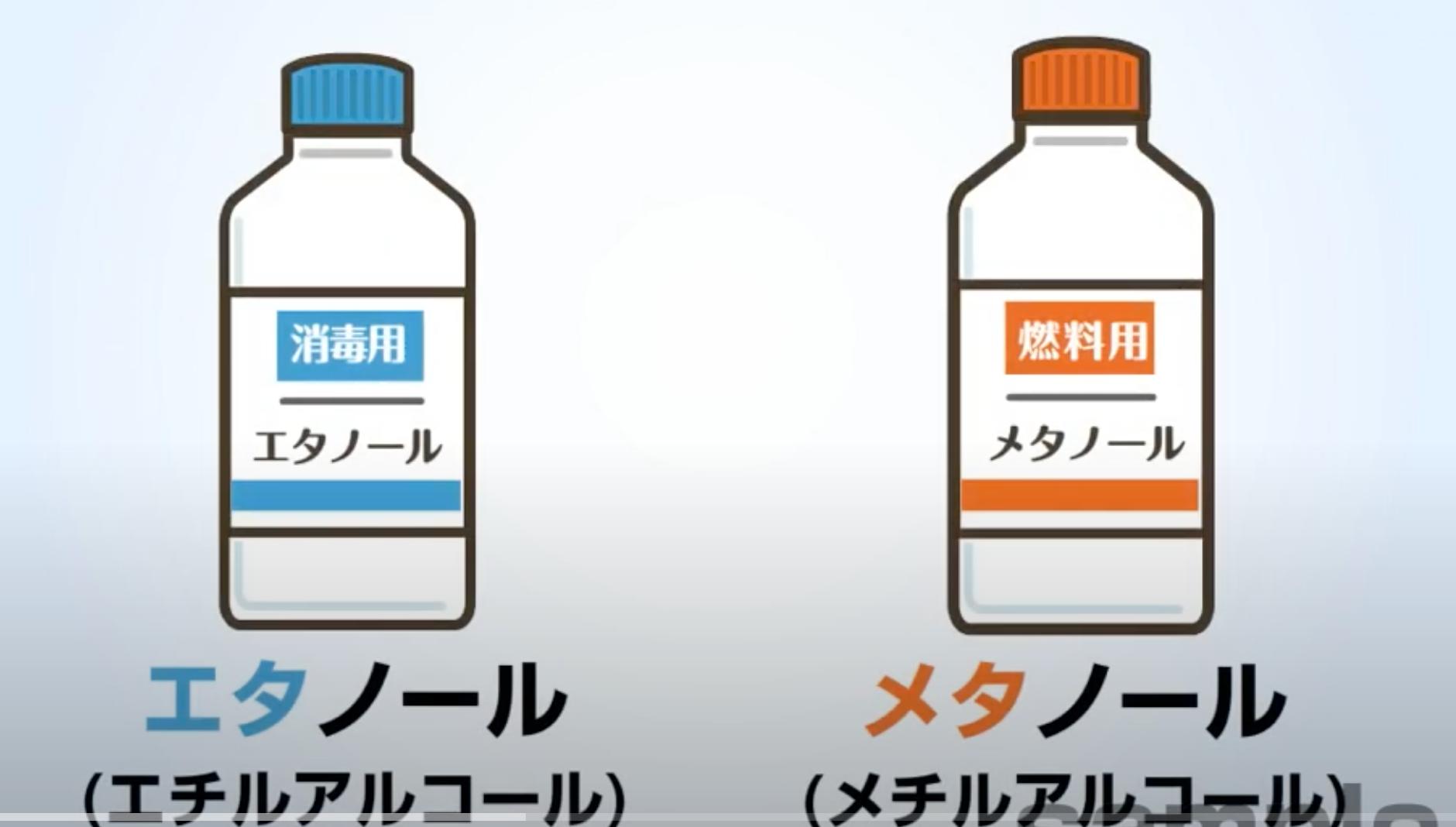 の 違い エタノール と メタノール