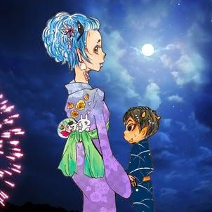 鬼灯様♥️打ち上げ鬼火横から見るか、お香さんの背中から見るか〜の画像