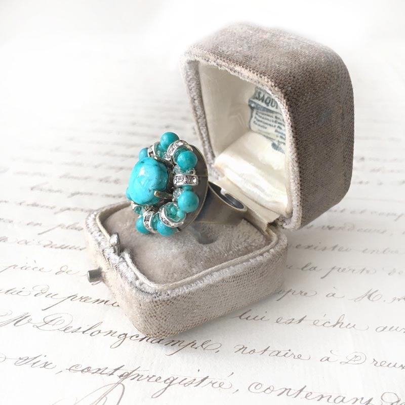 ターコイズブルー リング (指輪) 大粒ボリュームリング ターコイズ カボション カット シルバーゴールド リング