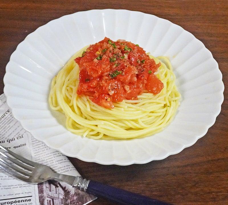 超簡単 完熟トマトの冷製パスタ