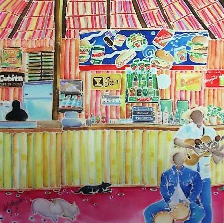 シルクに描いたキューバのスナックバーの絵