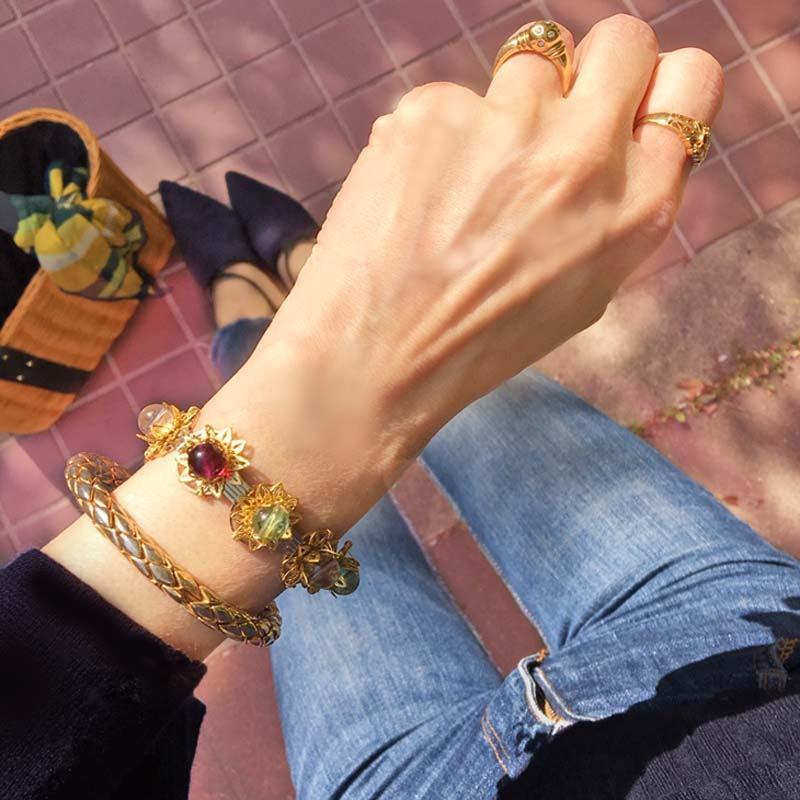 フローライトフラワーバングルブレスレット 天然石フローライトゴールド ブレス