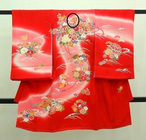 赤の女の子お宮参りの着物