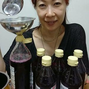 赤紫蘇ジュース作りの画像