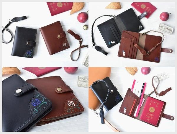 革のペアパスポートケース