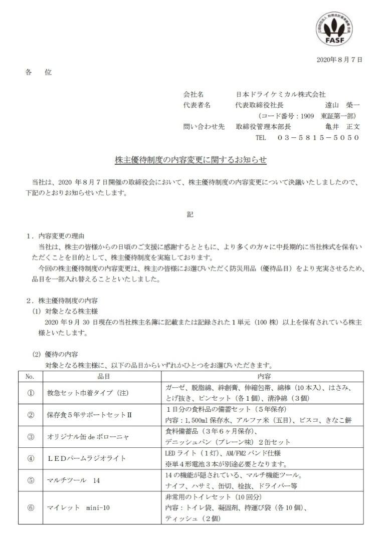 ケミカル 株価 ドライ 日本