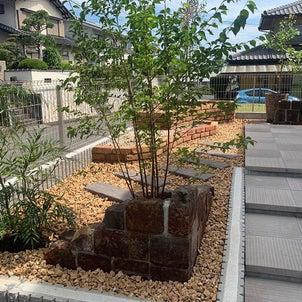 クラシックなレンガと美しい木々の前庭の画像