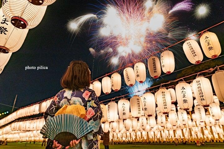 護国神社 みたま祭 花火と浴衣