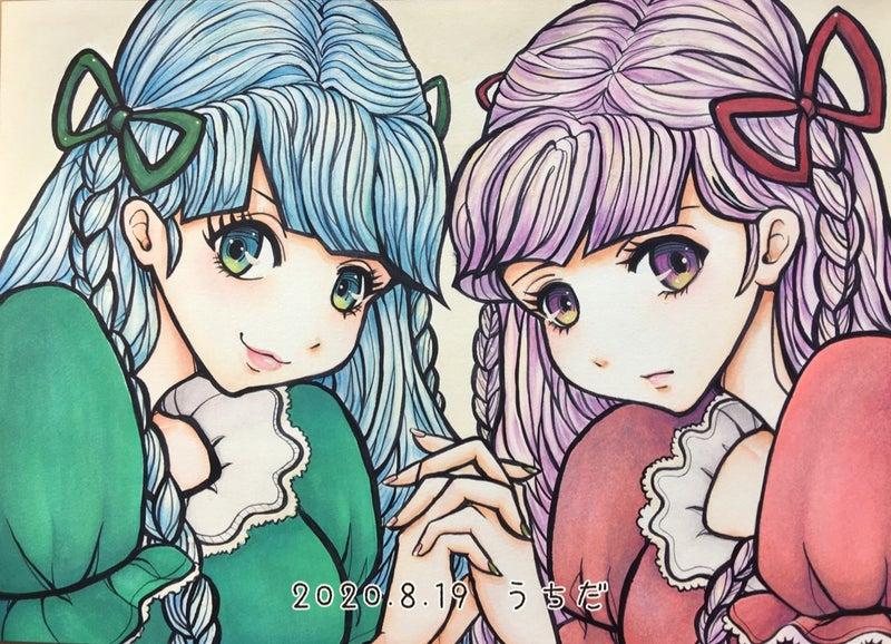 Twins 女の子イラスト 水彩色鉛筆やコピック メイキング どん底から始めていこう