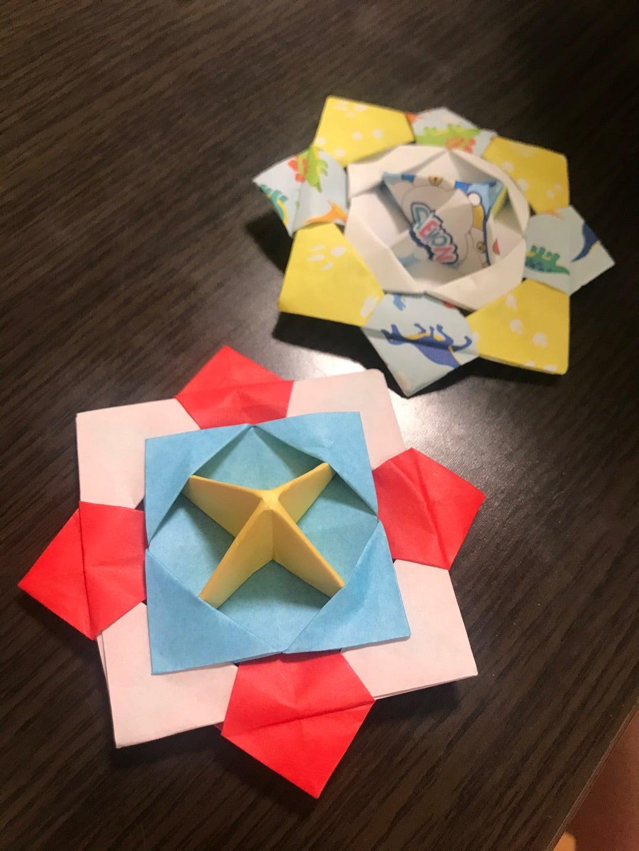 折り紙の花コマ