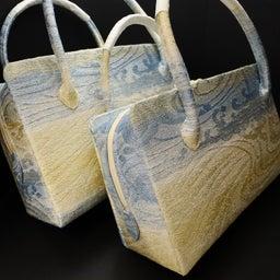 画像 きれいな色合いの利休バッグ2020|銀撚箔波流水文様・八寸、九寸|西陣正絹帯地使用の和装バッグ の記事より