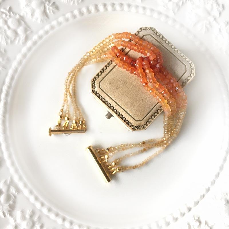天然石 4連 ブレスレット シトリン カーネリアン イエロートルマリン ブレス 宝石質AAA