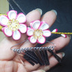 DIY 【創作ツマミ細工】七五三髪飾り2【ピンク3点セット】『花かんざし』と『しだれかんざし』