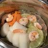 海老野菜蒸し→キムチリゾット→コロッケの画像