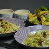 アンチョビキャベツのパスタと柿のサラダの画像