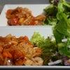 鶏もも肉のトマトバジル炒めの晩ごはんの画像