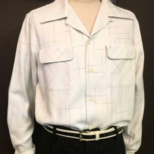 オープンカラーカスリレーヨンシャツの画像
