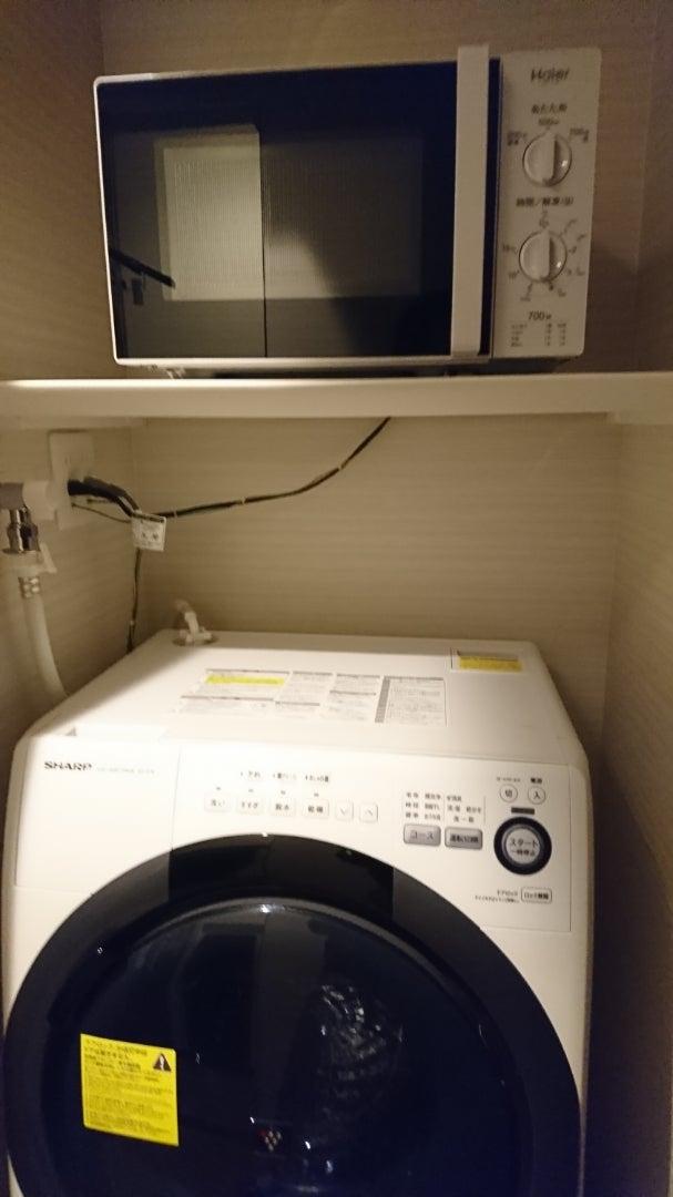 部屋設置の電子レンジと洗濯機